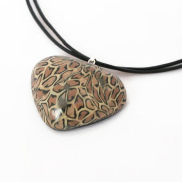 Leopard Print Pendant - Polymer Clay Necklace - Animal Print Jewellery - Brown Beige Cream Black - Bespoke Design