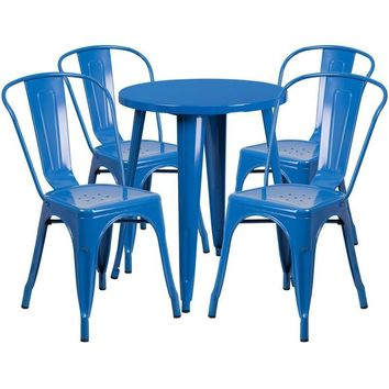24'' Round Metal Indoor-Outdoor Table Set with 4 Cafe Chairs