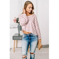 Caught Your Eye Cropped Stripped Top