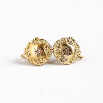 Sale - Antique Victorian 10k Yellow Gold Diamond Earrings - Vintage 1800s Edwardian Screw Back Flower Cufflink Conversion Fine Jewelry