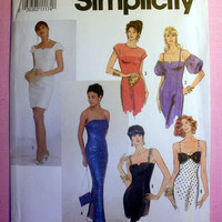 Evening Dress Misses' / Miss Petite Size 4, 6, 8, 10 Simplicity 7217 Sewing Pattern Uncut