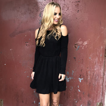 Forever Dreaming Cold Shoulder Knit Dress In Black