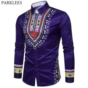 Mens Hipster African Dashiki Slim Fit Dress Shirts 2018 Casual Long Sleeve Button Down Shirt Men African Traditional Camisas 3XL