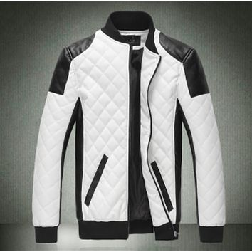 Mens Motorcycle Windproof Faux Leather Jacket