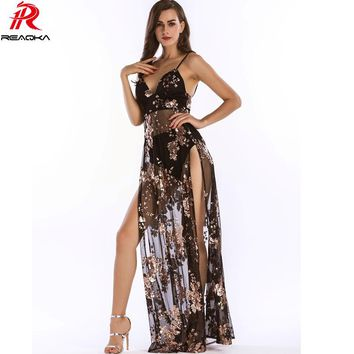 Luxury Sexy Women Empire Long Sequins Dress See Through V-neck High Split Nightclub Party Dresses Maxi Bodycon Vestidos 2017 New
