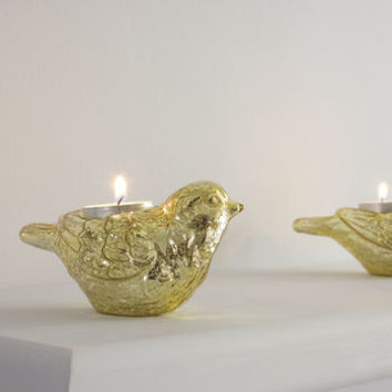 Silver And Gold Bird Tealight Holders