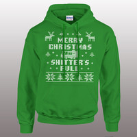 Merry Christmas Shitter's Full - funny christmas hoodie, ugly sweater, pullover hoodie, vacation, cross stitch, mens, ladies, gift,