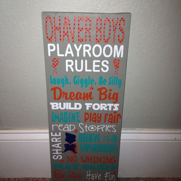 Personalized Wooden Boys Playroom Rules Sign