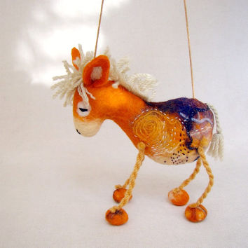 Augustina - Felt Donkey. Art Animal Marionette,  Puppet, Felted Animals, Stuffed Toy, mteam. orange yellow beige cream.  MADE TO ORDER