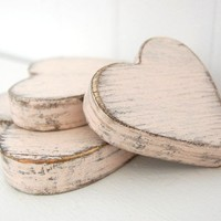 wooden hearts shabby chic pink cottage decor style by OldNewAgain