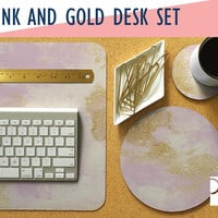 Pink and Gold Desk Mat, Mouse Pad & Coaster Set  -Desk Accessory Set