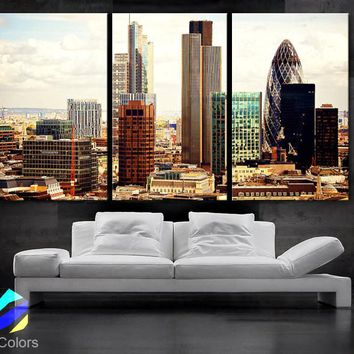 "LARGE 30""x 60"" 3 Panels Art Canvas Print beautiful London Skyline buildings lights sunset Wall Home (Included framed 1.5"" depth)"