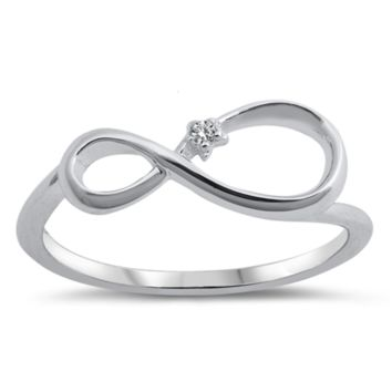 Ladies Infinity Ring Size 5-10 in .925 Sterling Silver and CZ