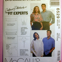 Button Front Shirts Men's, Misses' or Teens' Size Medium 34 - 36 McCall's 6529 Sewing Pattern Uncut