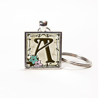 Key chain personalized vintage style alphabet letter glass tile square. Rusteam