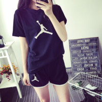 Jordan New summer fashion casual print short sleeve top t-shirt shorts sports two piece suit Black