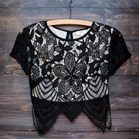 lace it up crop top - black