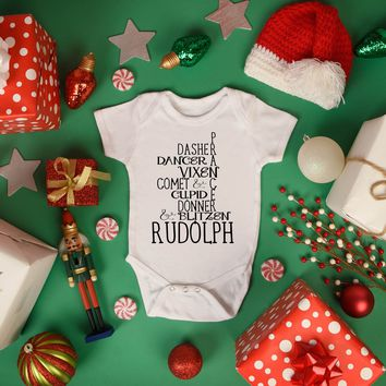 Reindeer Names Christmas Baby Outfit