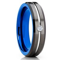6mm - Blue Tungsten Ring - Gunmetal Tungsten Ring - White Diamond Tungsten