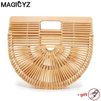 Straw bags for women 2018 Ladies Hand bags female causal totes hollow beach bags Half moon bamboo Women's handbags Clutch Bag