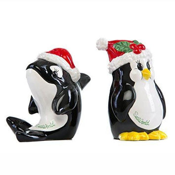 SeaWorld Penguin and Shamu Holiday Salt & Pepper Shakers New
