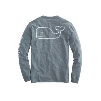 Vineyard Vines, Long-Sleeve Vintage Whale Graphic Pocket T-Shirt, Medium Gray Heather