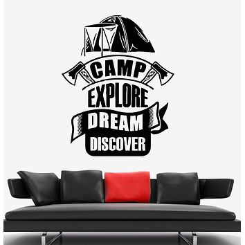 Wall Decal Camp Explore Discover Tourism Tent Nature Expedition Vinyl Sticker (ed1439)