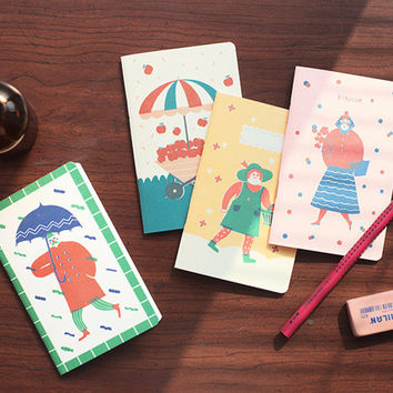 Livework Breezy day cute illustration small lined notebook