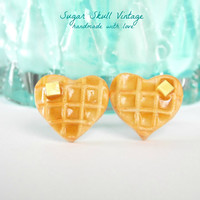 Waffle Earrings - Heart Waffle - Food Jewelry - Unique Heart Shaped Waffles with Butter - Polymer Clay Waffles -