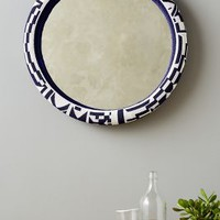 Thando Beaded Mirror by Sithabe African Craft Blue & White One Size Wall Decor