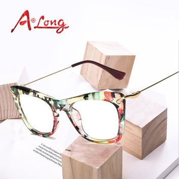 A Long Women Classic Glasses Frame Stainless Steel Fashion Printed Vintage Eye Glass Frames Eyewear Accessories M68053