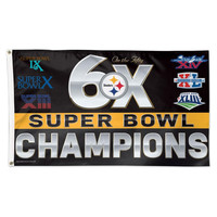 Pittsburgh Steelers NFL 6x Super Bowl Champs Commemorative 3ftx5ft Deluxe Flag