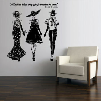Wall decal Sticker Vinyl Mural art decor interior Fashion Girls Chanel Quote Lettering Dressing zvr1261