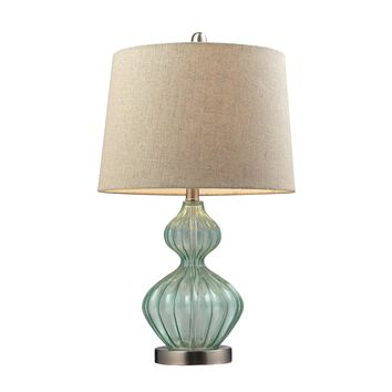 D141 Smoked Glass Table Lamp In Pale Green With Metallic Linen Shade