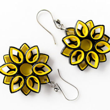 Paper jewelry - Bumble bee inspired paper quilled flower earrings - First anniversary gift -Handmade, ecofriendly, lightweight paper earring
