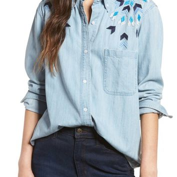 Rails Brett Embroidered Chambray Shirt | Nordstrom