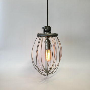 Whisk Lamp, Reclaimed Lighting, Hobart Whisk, Industrial Lighting Pendant, Unique Lighting, Whisk Pendant Light, Farmhouse Lamp