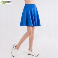 Women  Flared Skater Skirt Basic Solid Color Mini Skirt Above Knee Versatile Stretchy  Pleated Casual Skirt S/M/L/XL/XXL