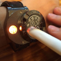 Military USB Charging sports Lighter Watch  Casual Quartz Wristwatches with Windproof Flameless Cigarette Cigar Lighter