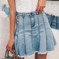8DESS Elegant A line women denim mini skirt High waist tassel blue jeans skirt Casual short fashion skirts