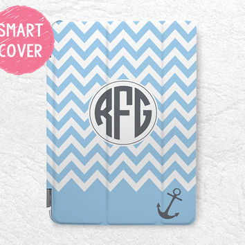 Nautical anchor blue Striped monogram custom name iPad Smart Cover personalized case for iPad Air, iPad Air 2 -C11