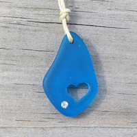 Sea Glass Caribbean Blue Carved Heart Crystal Necklace by Wave of Life
