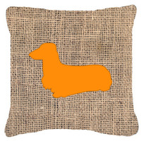 Dachshund Burlap and Orange   Canvas Fabric Decorative Pillow BB1078