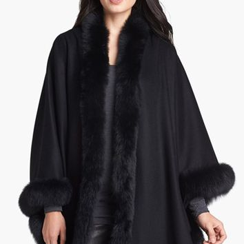 Women's Caruana Genuine Fox Fur Trim Cashmere Cape