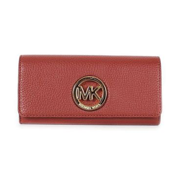LMFON Michael Kors Fulton Pebbled Leather Flap Continental Wallet Brick