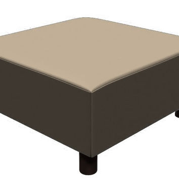 Color Customizable Leather Square Ottoman Calabasas by Lazar Industries