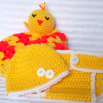 Duck Crochet Baby Blanket, Baby Girl or Boy Diaper Cover Set, Baby Lovey, Baby Lovie, Duck Blanket, Nursery Decor (MADE TO ORDER)