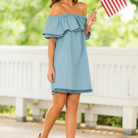 Western Skies Dress, Chambray