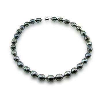 """14k White Gold Clasp 10-13mm Baroque Tahiti Cultured Pearl Necklace- AAA Quality, 18"""" Princess Length"""