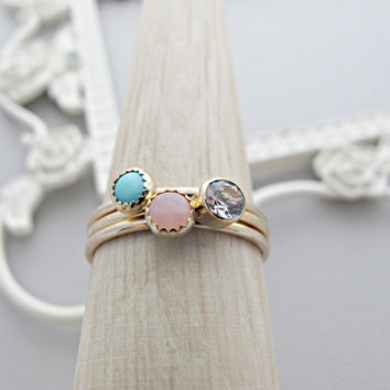 14k Gold ring, Solid Gold Ring, Unique Engagement Ring, Unique Ring Set, Diamond CZ Ring, Turquoise Ring, Pink Opal Ring